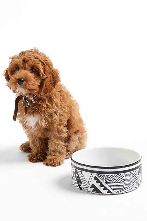 Kris Tate For DENY Pet Bowl Set,BLACK & WHITE,ONE SIZE