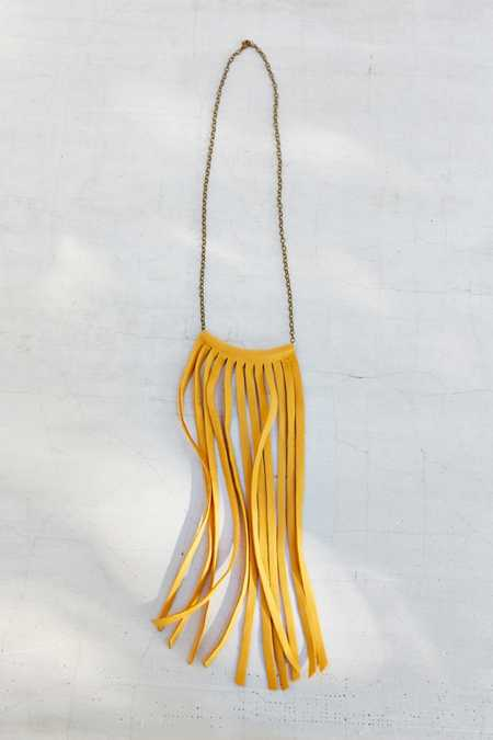Moon And Arrow Tan Fringe Curve Bar Necklace