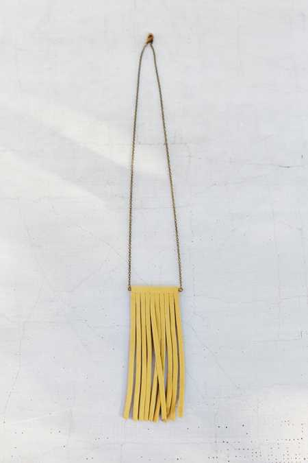 Moon And Arrow Tan Small Fringe Necklace