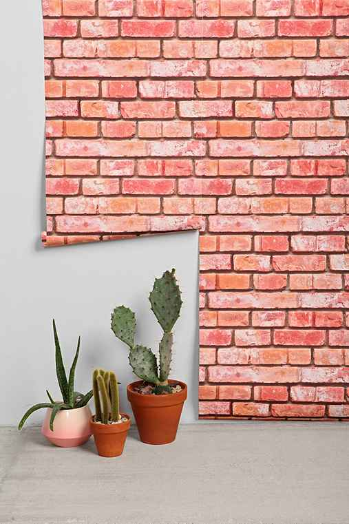 walls need love brick removable wallpaper urban outfitters. Black Bedroom Furniture Sets. Home Design Ideas