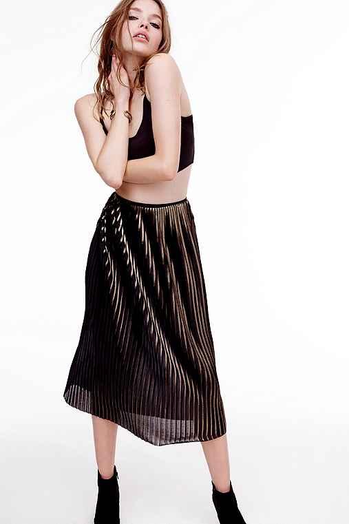 Silence + Noise Foil Pleated Midi Skirt