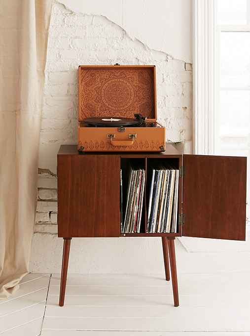 Assembly Home Mid-Century Vinyl Record Media Console, BROWN, ONE SIZE""