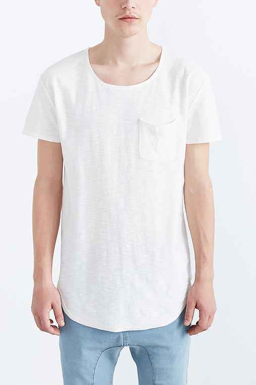 Feathers Slub Curved Hem Tee,IVORY,XL