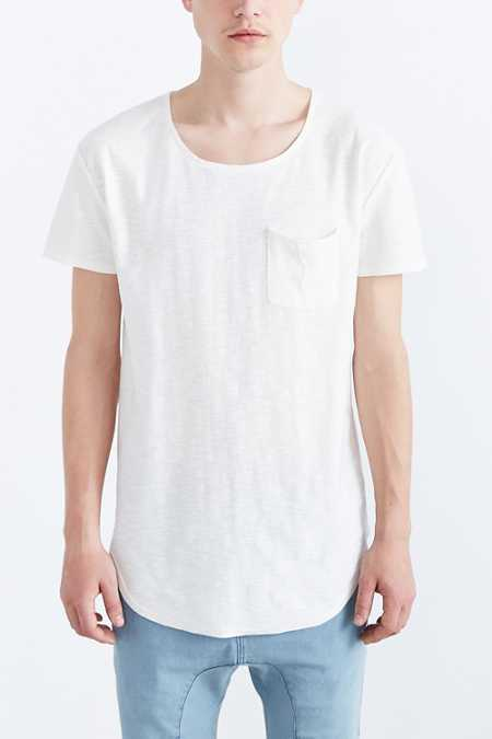 Feathers Slub Curved Hem Tee