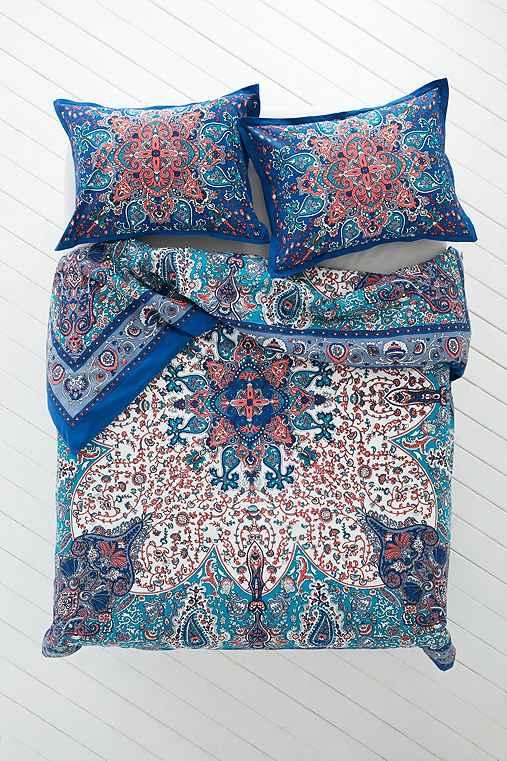 Plum & Bow Dandeli Medallion Duvet Cover,BLUE,FULL/QUEEN