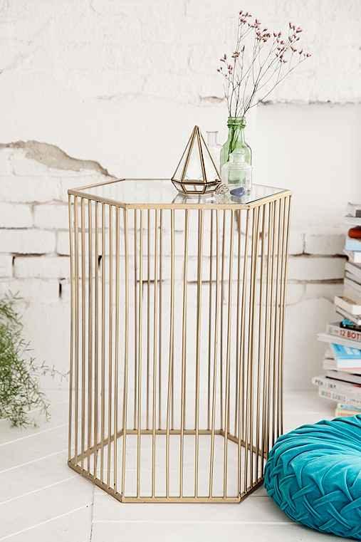 Harper Side Table,GOLD,ONE SIZE