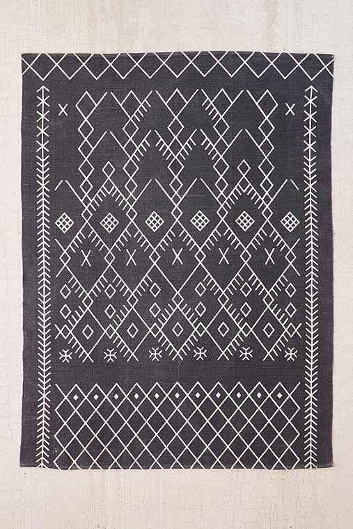 Magical Thinking Printed Boucherouite Rug,BLACK,5X7