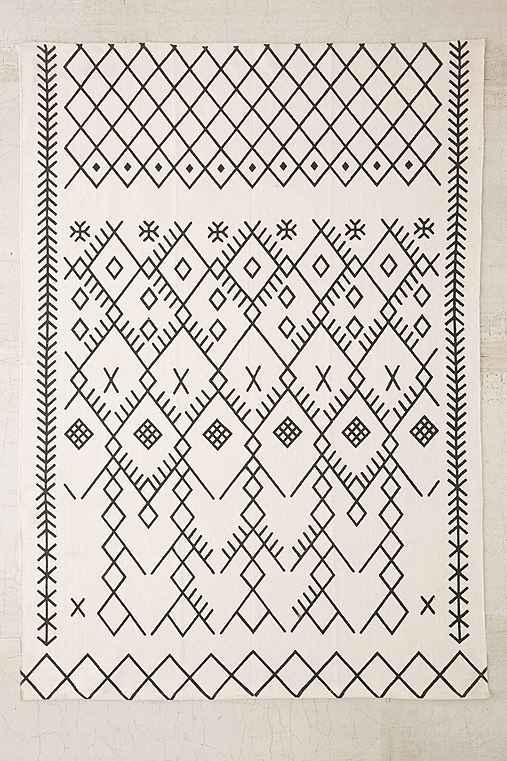 Magical Thinking Printed Boucherouite Rug,BLACK & WHITE,8X10