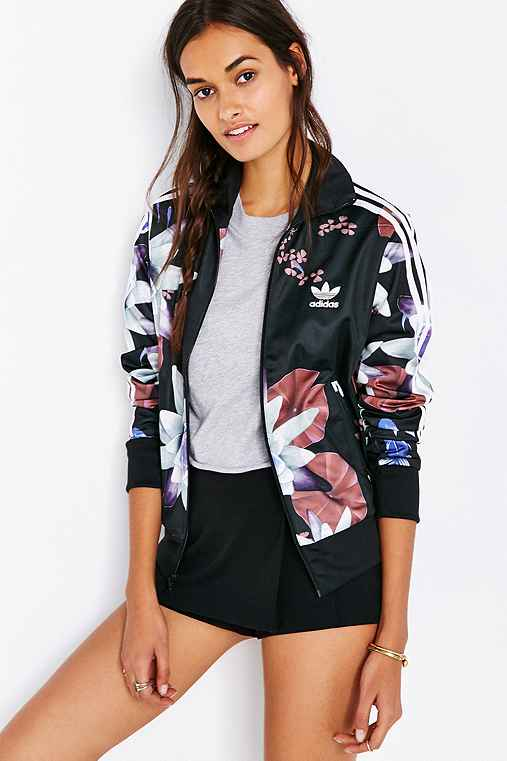 Adidas originals lotus print track jacket urban outfitters for Adidas floral shirt urban outfitters