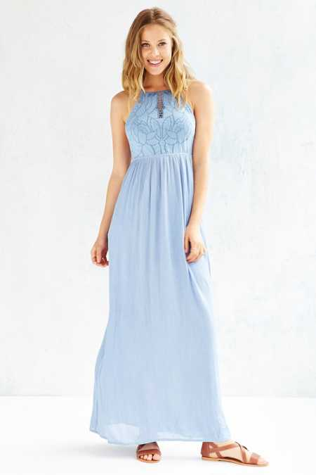 Kimchi Blue Embroidered Bodice Halter Maxi Dress