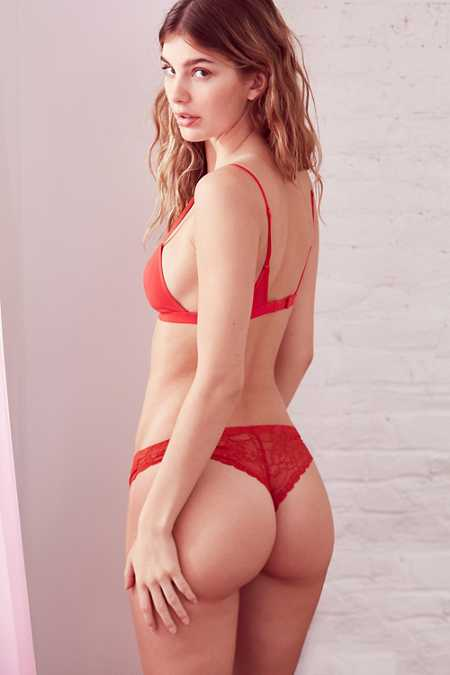 Out From Under Nina Laser-Cut Lace-Back Thong