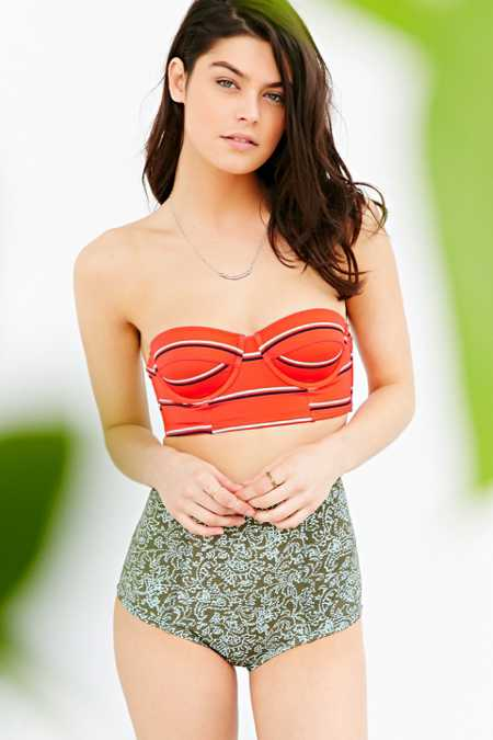 Out From Under Printed Longline Underwire Bikini Top