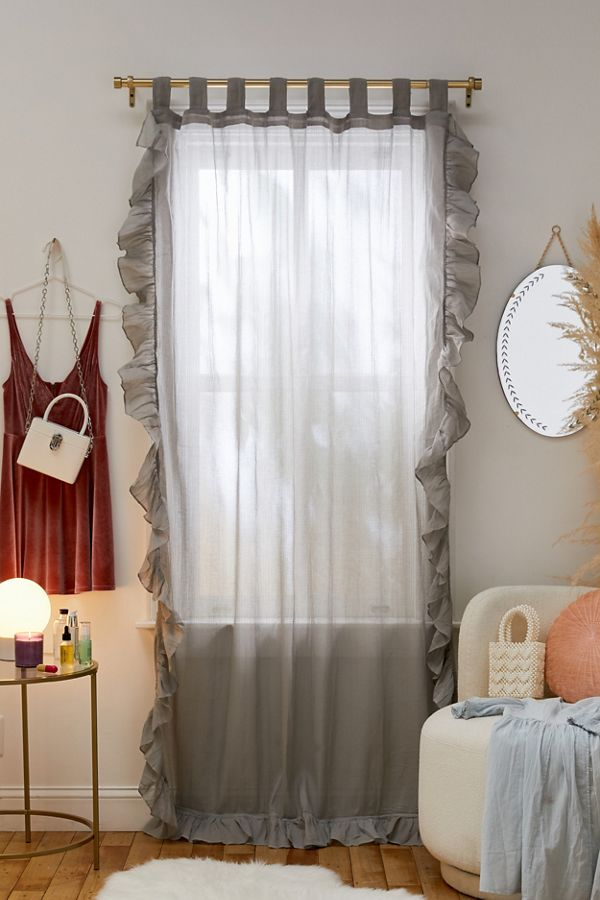 Slide View: 1: Ruffle Gauze Curtain
