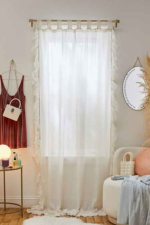 Plum & Bow Ruffle Gauze Curtain,WHITE,52X96