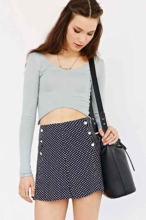 Cooperative Scalloped Button-Front Skirt