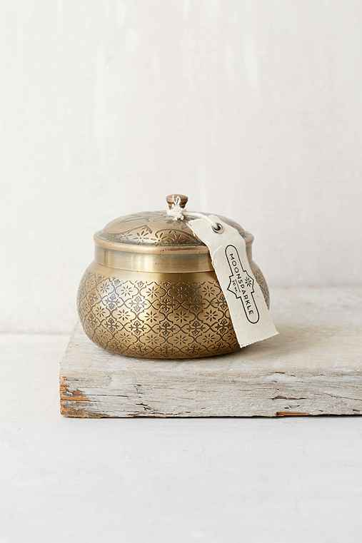 Moroccan Embossed Metal Candle,MOON SPARKLE,ONE SIZE