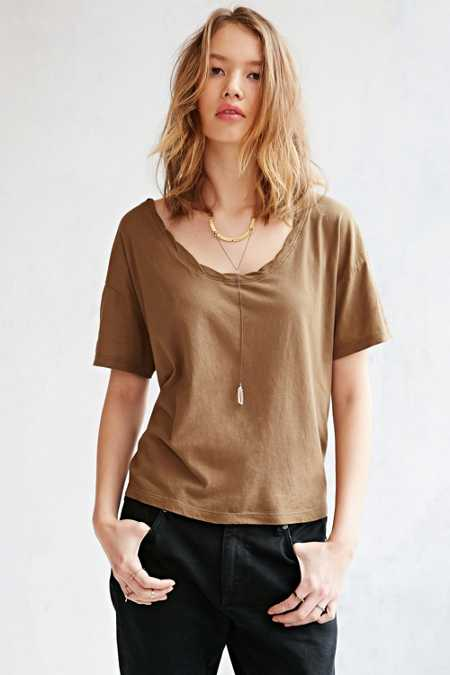 Truly Madly Deeply Oversized Roped Scoop-Neck Tee