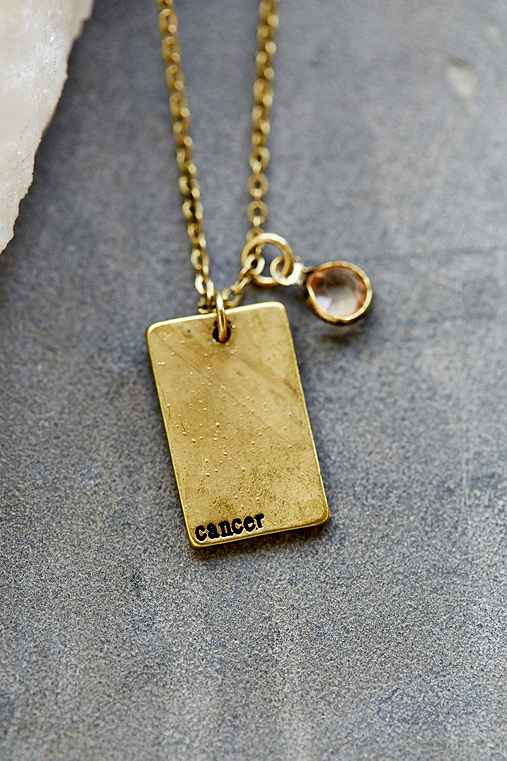 Stamped Zodiac Necklace,CANCER,ONE SIZE