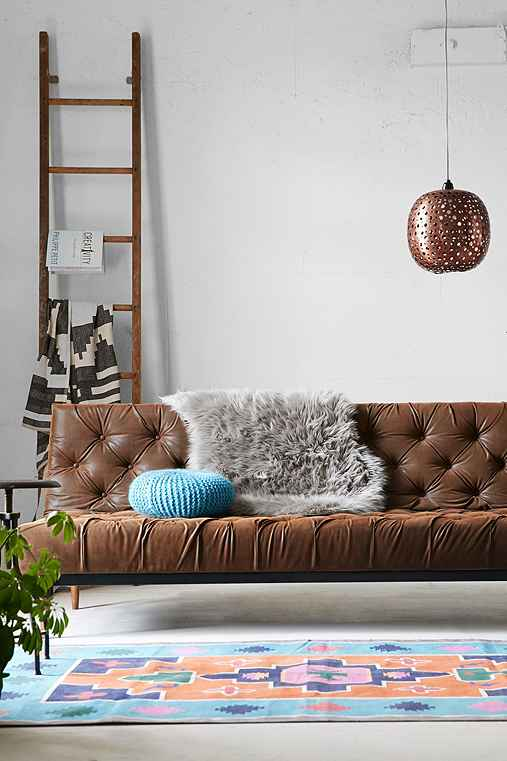 Vegan Leather Chesterfield Convertible Sofa,BROWN,ONE SIZE