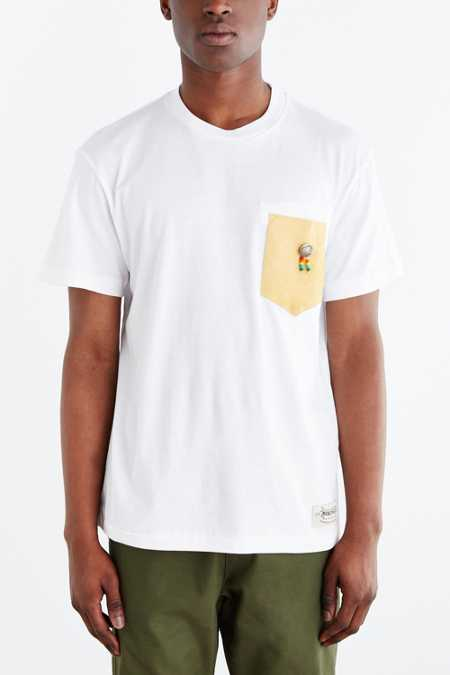 Monitaly Split-Hem Leather Pocket Tee