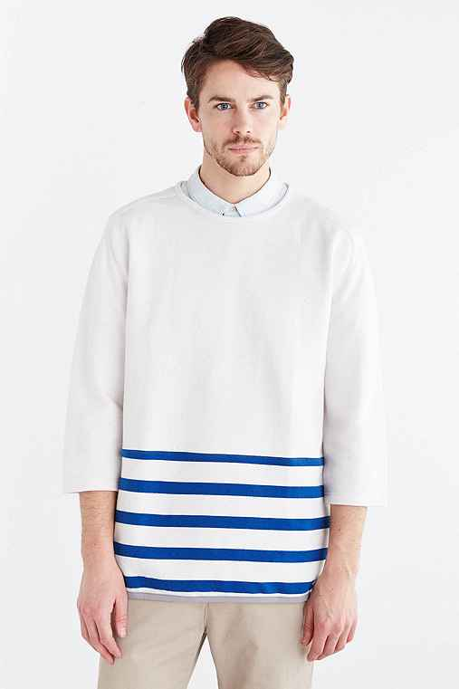 CPO 3/4-Sleeve Stripe Crew Neck Sweatshirt