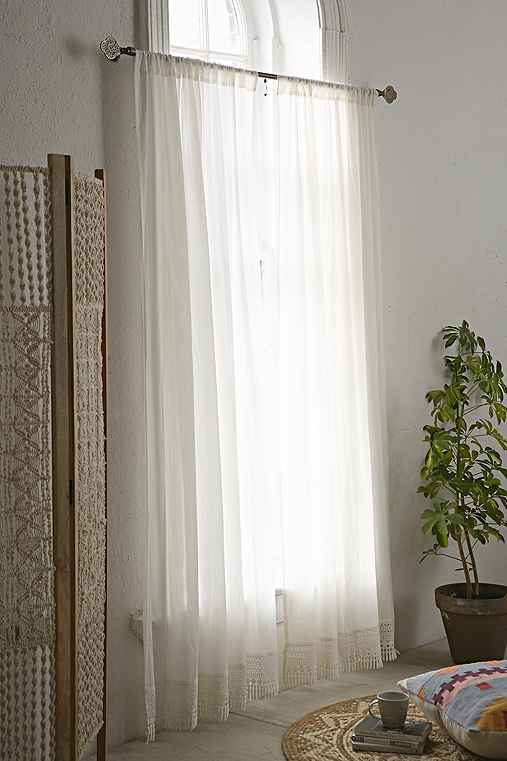 Plum & Bow Crochet Trim Curtain,IVORY,52X84