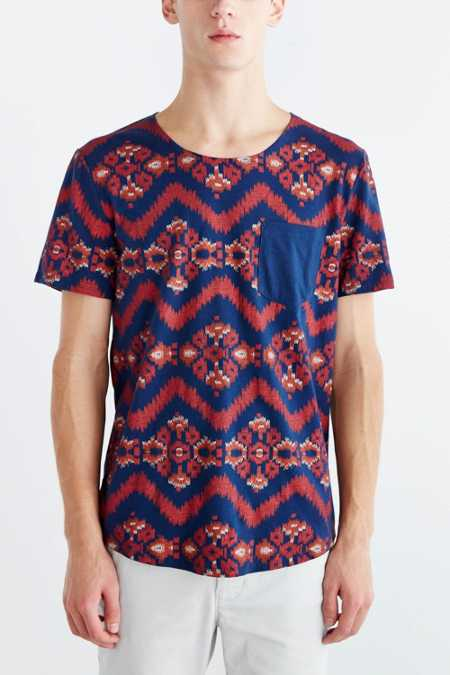 BDG Allover Ikat Open Neck Pocket Standard-Fit Tee