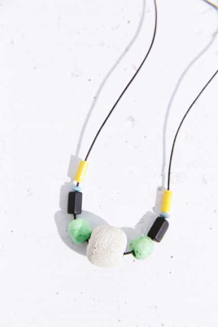 Kate Miss X Urban Renewal Green Beaded Concrete Necklace