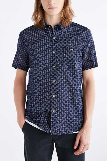 Salt Valley Medallion Print Short-Sleeve Button-Down Shirt