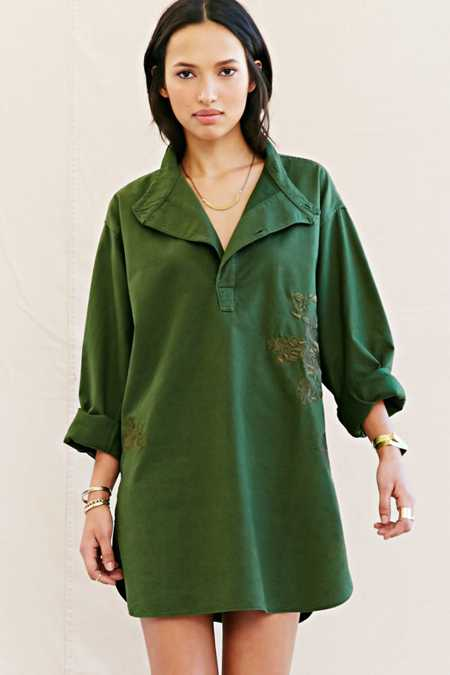 Urban Renewal Recycled Embroidered Military Tunic Top