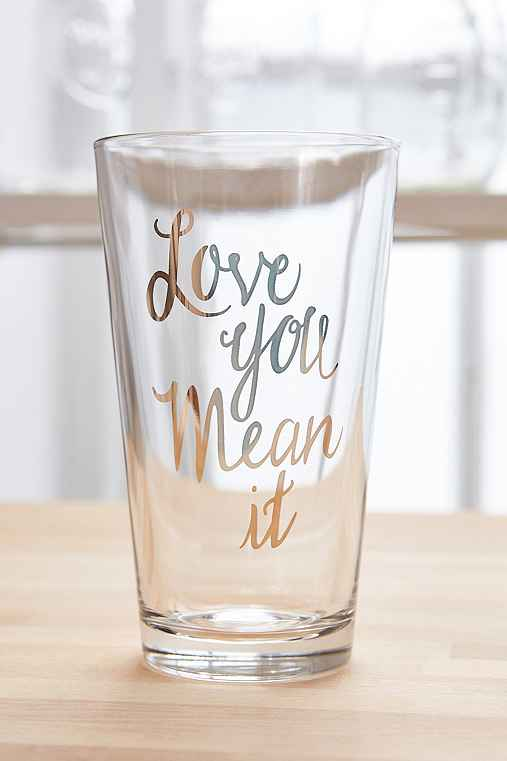 I Love You Pint Glass,GOLD,ONE SIZE