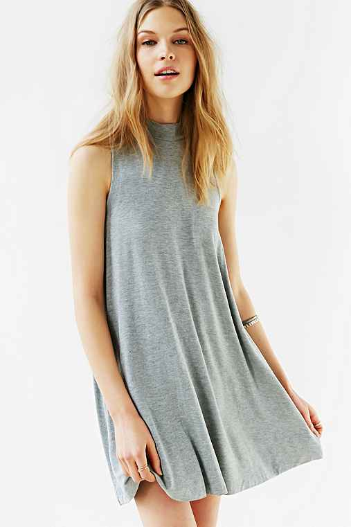 Silence + Noise Mock-Neck Mini Swing Dress,GREY,L
