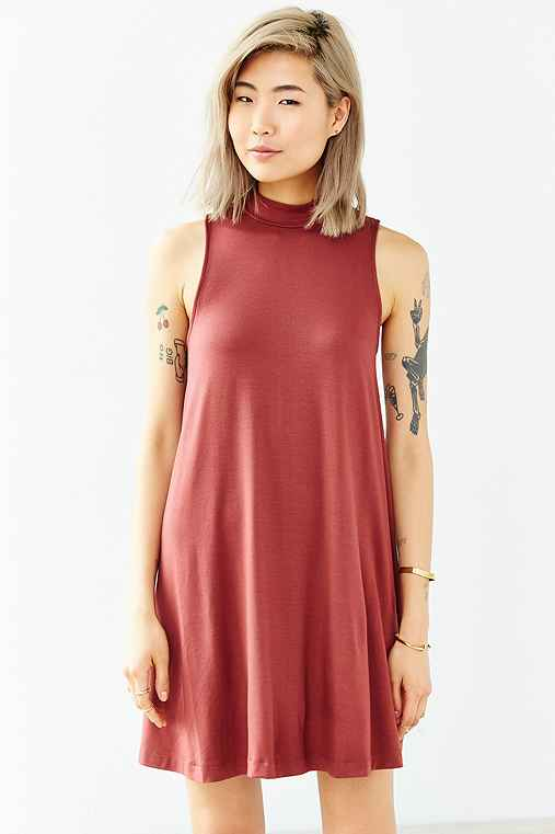 Silence + Noise Mock-Neck Mini Swing Dress,RUST,L