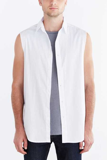 Shades Of Grey By Micah Cohen Sleeveless Raw Edge Button-Down Shirt