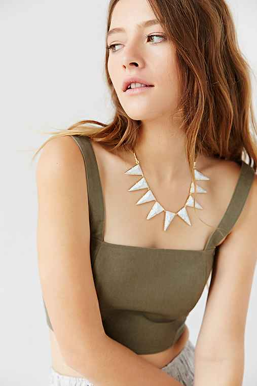 Luv Aj Marble Triangle Necklace,GOLD,ONE SIZE