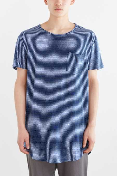 Feathers Linen Stripe Long Scoop Neck Tee