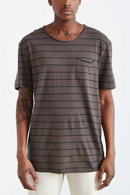 Feathers Cotton Linen Stripe Scoop Neck