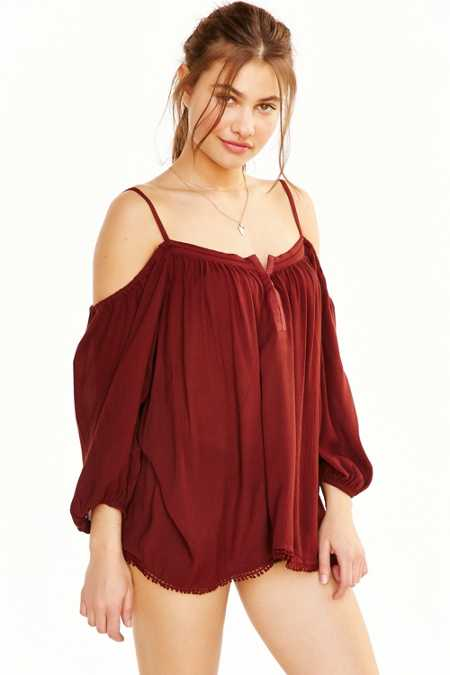 Ecote Pom Pom Trim Cold Shoulder Blouse