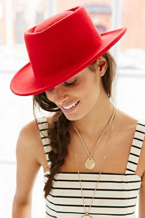 Austen Teardrop Panama Hat,RED,ONE SIZE