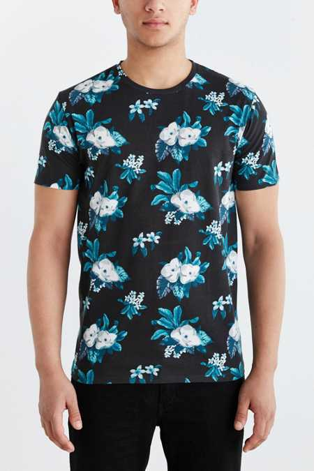 BDG Moody Floral Standard-Fit Crew Neck Tee