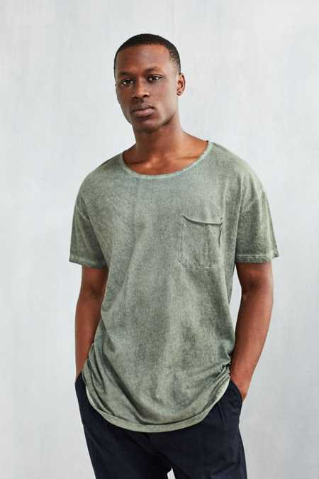 Feathers Oil Wash Long Scoopneck Tee