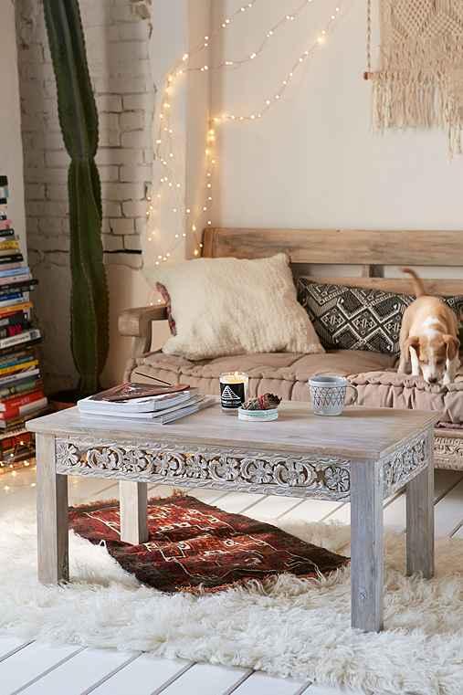 Rashmi carved coffee table urban outfitters - Bohemian urban fusion living room ...