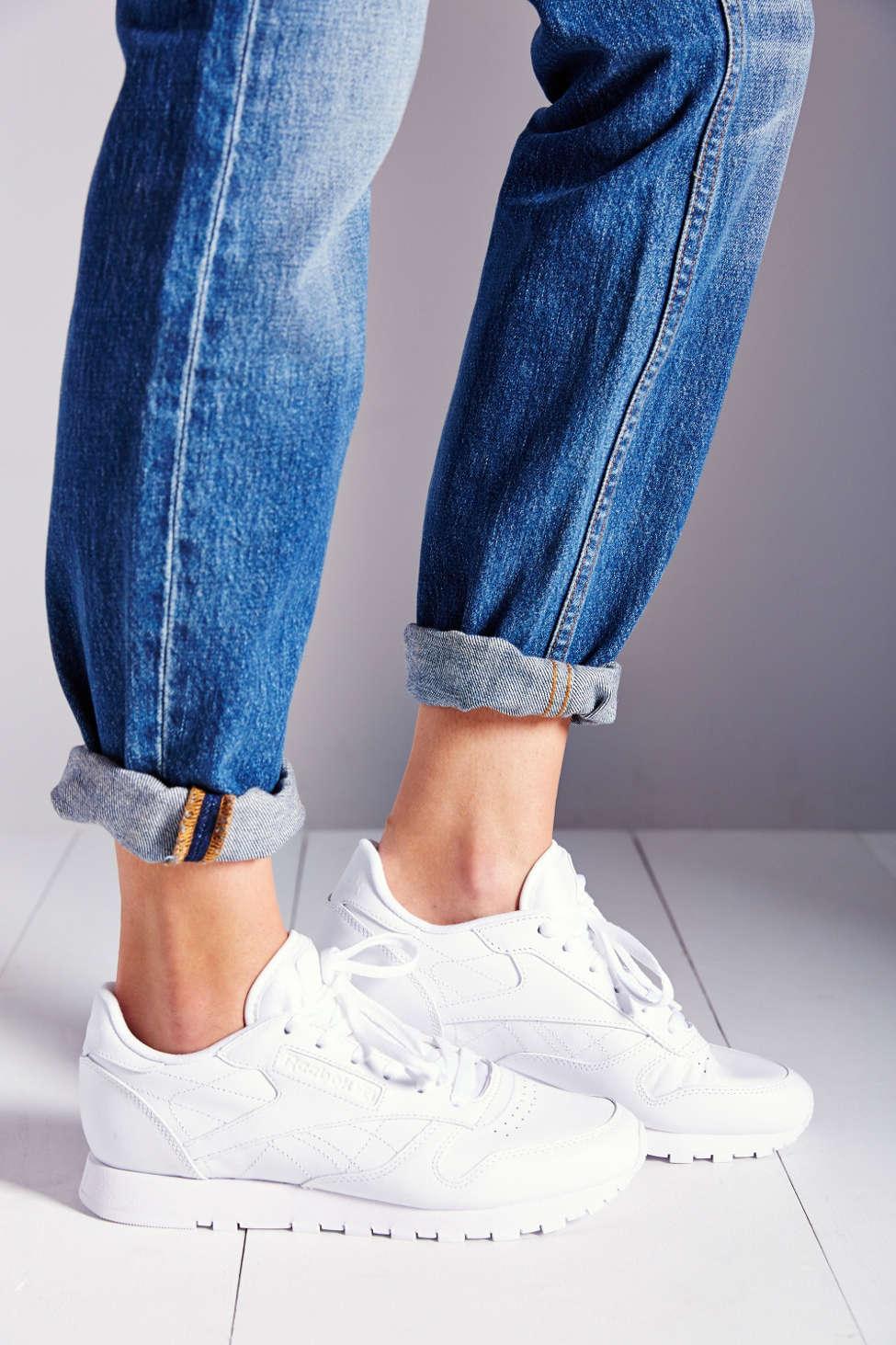 reebok white leather sneaker