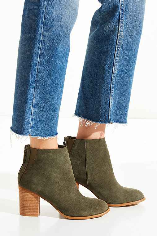 Short Suede Boot,GREEN,9