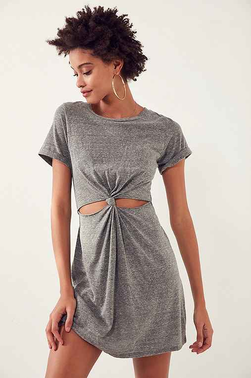 Honey Punch Knot-Front T-Shirt Dress,GREY,L