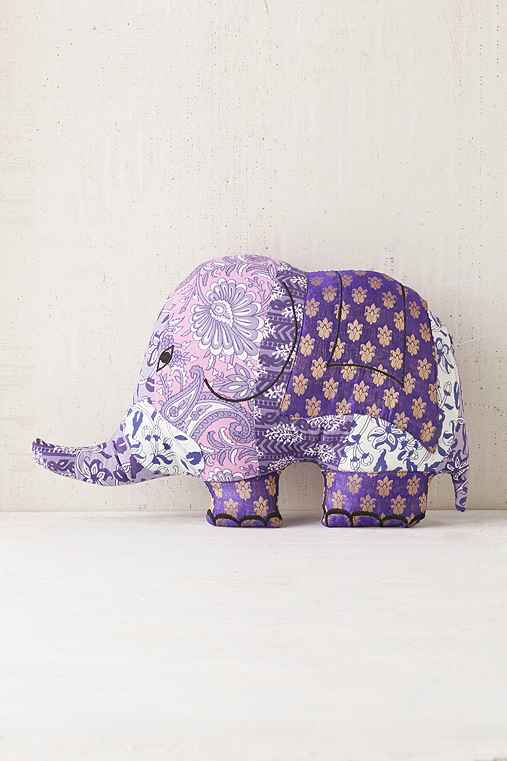 Magical Thinking Sari Elephant Pillow,PURPLE,ONE SIZE