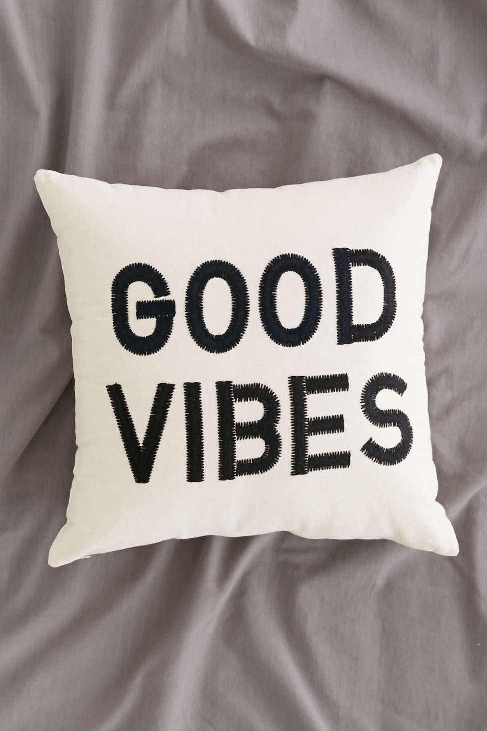 Good Vibes black and white pillow