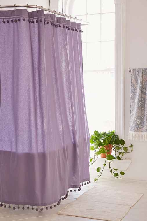 Magical Thinking Pompom Shower Curtain,LAVENDER,72X72