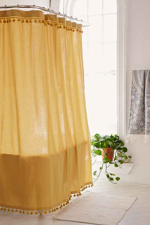 Magical Thinking Pompom Shower Curtain,GOLD,72X72