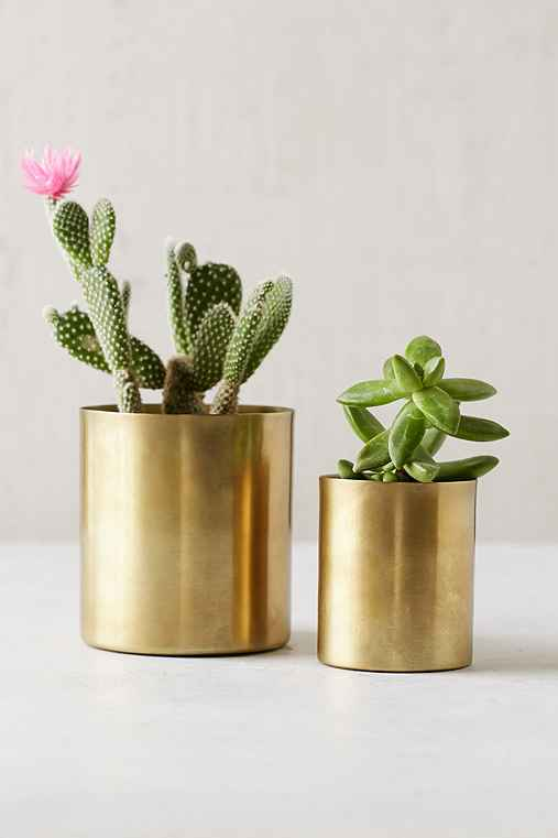 Mod Metal Small Planter,GOLD,ONE SIZE